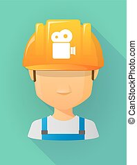 Worker male avatar wearing a safety helmet with a film...