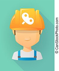 Worker male avatar wearing a safety helmet with a toy crank...