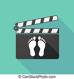 Long shadow clapperboard with two footprints - Illustration...