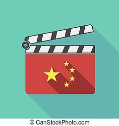 Long shadow clapperboard with the five stars china flag...