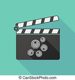 Long shadow clapperboard with oocytes - Illustration of a...