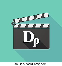 Long shadow clapperboard with a drachma currency sign -...