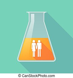 Long shadow chemical test tube with a heterosexual couple...