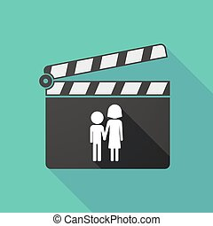 Long shadow clapperboard with a childhood pictogram -...