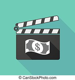 Long shadow clapperboard with a dollar bank note -...