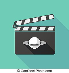 Long shadow clapperboard with the planet Saturn -...
