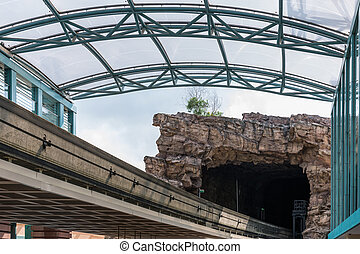 Modern monorail track from urban staion to the artificial...