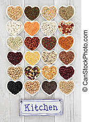 Pulses Selection - Vegetable pulses selection in heart...