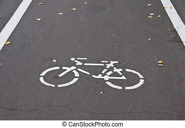 road markings for bicycle on road