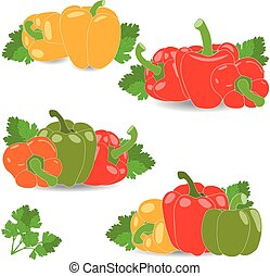 Pepper, set of yellow, red, green and orange peppers, parsley leaves, vector illustration on a transparent background