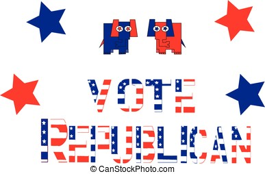 Vote Republicaneps - Red, white and blue lettering spelling...