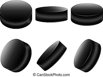 Ice Hockey Pucks - Collection of ice hockey pucks on white...