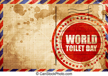 world toilet day, red grunge stamp on an airmail background