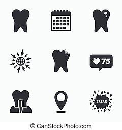 Dental care icons. Caries tooth and implant. - Calendar,...