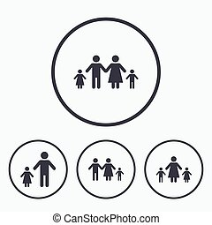 Family with two children sign. Parents and kids. - Family...