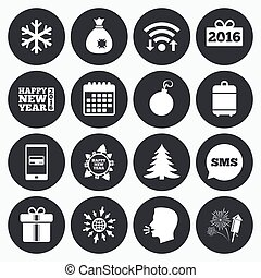 Christmas, new year icons. Gift box, fireworks. - Wifi,...