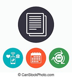 Copy file sign icon Duplicate document symbol Mobile...
