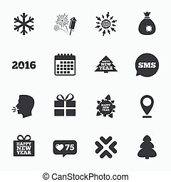 Christmas, new year icons. Gift box, fireworks. - Calendar,...