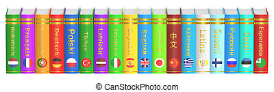 Row of Languages Books, 3D rendering isolated on white...