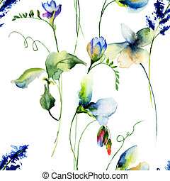 Seamless wallpaper with Sweet pea flowers, watercolor...