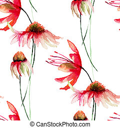 Seamless pattern with Gerber flowers, watercolor...
