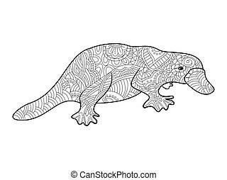 Platypus coloring book for adults vector illustration.