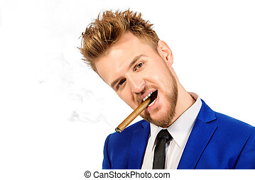 funny smoking - Funny stylish man smoking a cigar Mens...