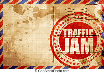 traffic jam, red grunge stamp on an airmail background -...