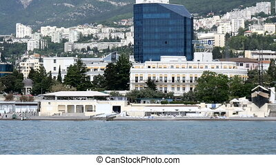 View from the sea on the embankment in Yalta, the Crimea HD