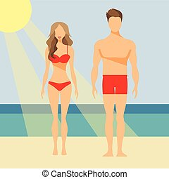 Man and Woman Vector Flat Illustration