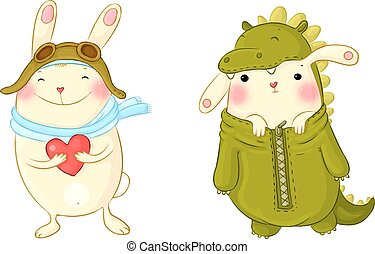 Cute bunnies in fancy dress. - Hand drawing isolated objects...