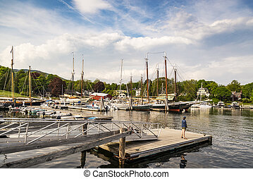 Boats at dock in Camden, ME - Boats in at dock in harbor in...