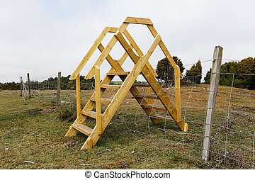 Stile over the fence - A stile create a transition over the...