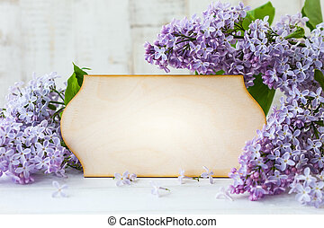 Lilac and greeting card - Wooden greeting card and wreath...