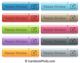 Resize window captioned menu button set - Set of resize...
