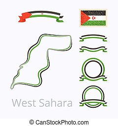 Colors of Western Sahara - Outline map of Western Sahara...