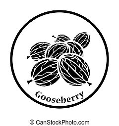 Icon of Gooseberry Thin circle design Vector illustration