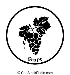 Icon of Grape. Thin circle design. Vector illustration.