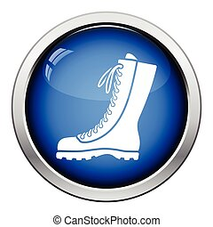 Hiking boot icon Glossy button design Vector illustration