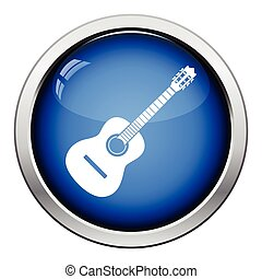 Acoustic guitar icon Glossy button design Vector...
