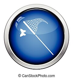 Butterfly net icon. Glossy button design. Vector...