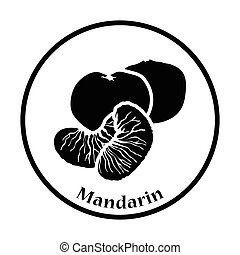 Icon of Mandarin Thin circle design Vector illustration