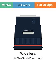 Icon of photo camera wide lens Flat color design Vector...