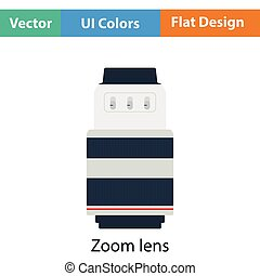 Icon of photo camera zoom lens Flat color design Vector...