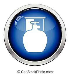 Camping gas container icon Glossy button design Vector...