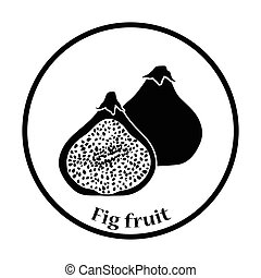 Icon of Fig fruit. Thin circle design. Vector illustration.