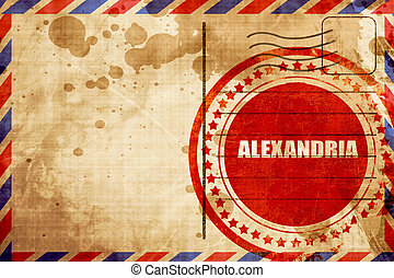 alexandria, red grunge stamp on an airmail background -...