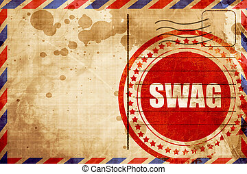 swag internet slang, red grunge stamp on an airmail...