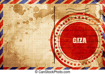 giza, red grunge stamp on an airmail background - giza