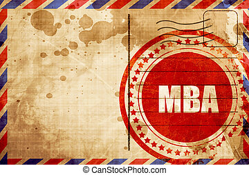 mba, red grunge stamp on an airmail background - mba